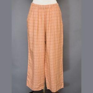 Flax Pants - Flax linen pants M NWT orange plaid elastic waist